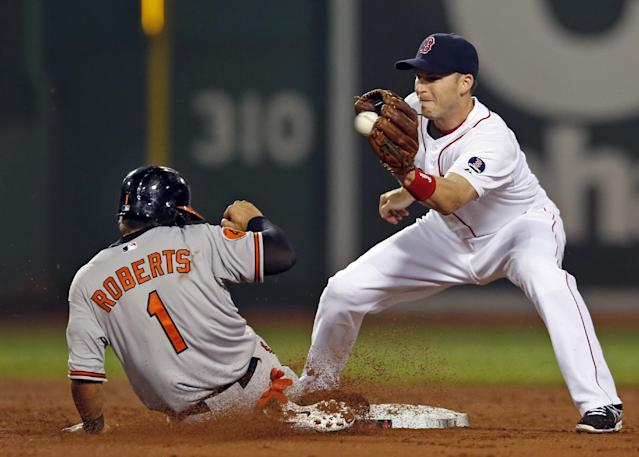 Baltimore Orioles' Brian Roberts steals second base as Boston Red Sox shortstop Stephen Drew takes in the throw during the third inning of a baseball game at Fenway Park in Boston, Wednesday, Aug. 28, 2013. (AP Photo/Elise Amendola)