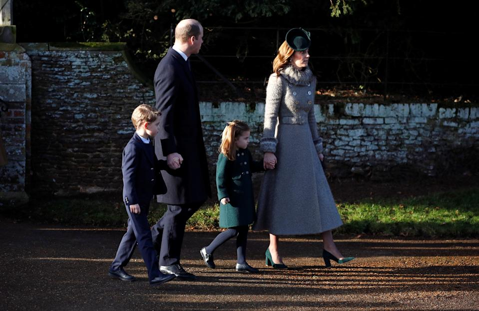 Britain's Prince William, Catherine, Duchess of Cambridge, Prince George and Princess Charlotte leave the St Mary Magdalene's church after the Royal Family's Christmas Day service on the Sandringham estate in eastern England, Britain, December 25, 2019. REUTERS/Phil Noble