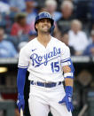 Kansas City Royals' Whit Merrifield reacts to a strike call while batting during the first inning of a baseball game against the Chicago White Sox at Kauffman Stadium in Kansas City, Mo., Monday, July 26, 2021. (AP Photo/Colin E. Braley)