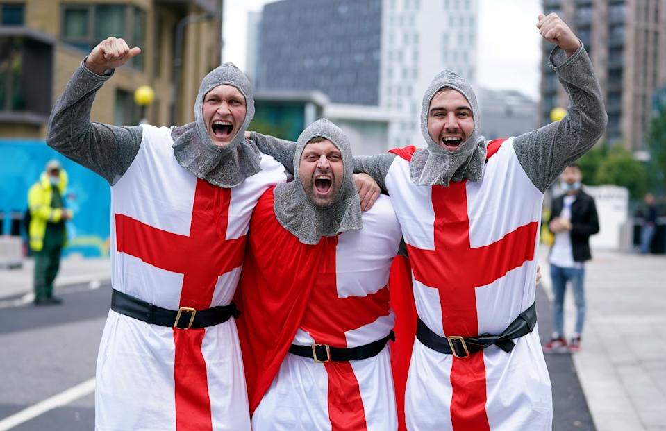 England fans dressed as knights outside Wembley Stadium (PA Wire)