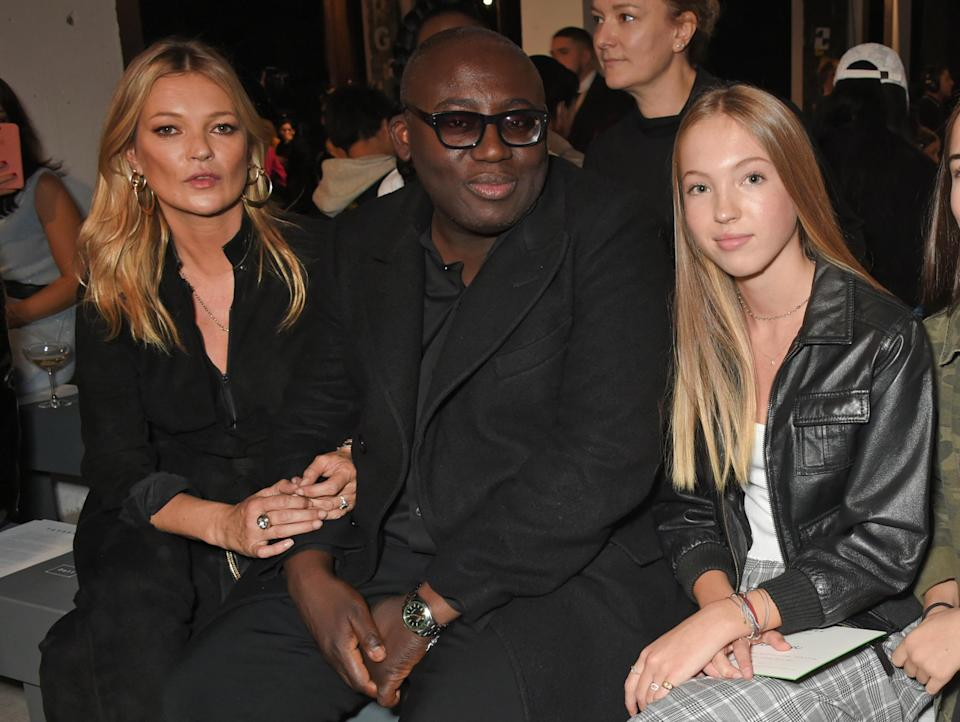 Kate Moss and her daughter, Lila Grace Moss Hack, with British <em>Vogue</em> editor Edward Enninful at a London Fashion Week show in September 2017. (Photo: David M. Benett/Dave Benett/Getty Images for TOPSHOP)