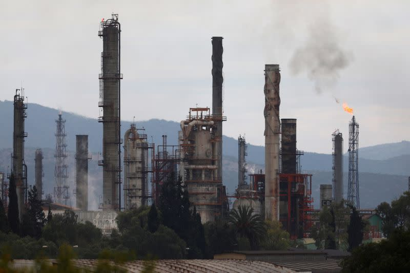 Excess natural gas is burnt, or flared, from Mexican state-owned Pemex's Tula oil refinery, located adjacent to the Tula power plant belonging to national power company Commission Federal de Electricidad, or CFE, in Tula de Allende