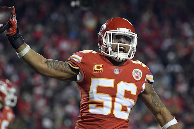 Kansas City Chiefs linebacker Derrick Johnson (56) celebrates what he thought was a touchdown on a Tennessee Titans fumble during the second half of an NFL wild-card playoff football game in Kansas City, Mo., Saturday, Jan. 6, 2018, but the play was reversed. The Tennessee Titans won 22-21. (AP Photo/Ed Zurga)