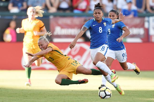 Aug 3, 2017; Carson, CA, USA; Brazil midfielder Maria (8) pushes down Australia midfielder Tameka Butt (13) while battling for the ball during the second half at StubHub Center. Australia won 6-1. Mandatory Credit: Kelvin Kuo-USA TODAY Sports TPX IMAGES OF THE DAY