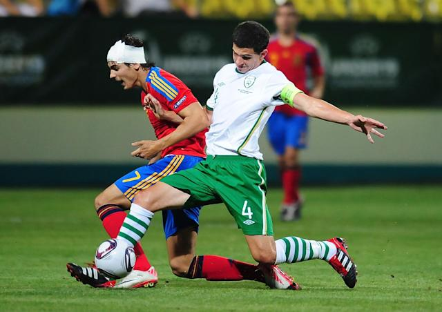 Alvaro Morata (L) of Spain vies for the ball with John Egan (R) of Ireland during their UEFA European Under-19 Championship football match, near the village of Chiajna village, outside of Bucharest, on July 29, 2011. AFP PHOTO/DANIEL MIHAILESCU (Photo credit should read DANIEL MIHAILESCU/AFP/Getty Images)