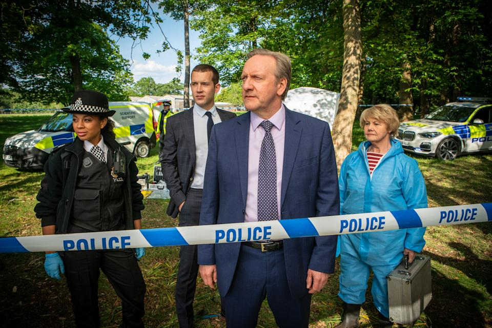 With Baited Breath (L-R) Eleanor Fanyinka as PC Jade-Marie Pierce, Nick Hendrix as DS Jamie Winter, Neil Dudgeon as DCI John Barnaby, Annette Badland as Fleur Perkins (ITV)