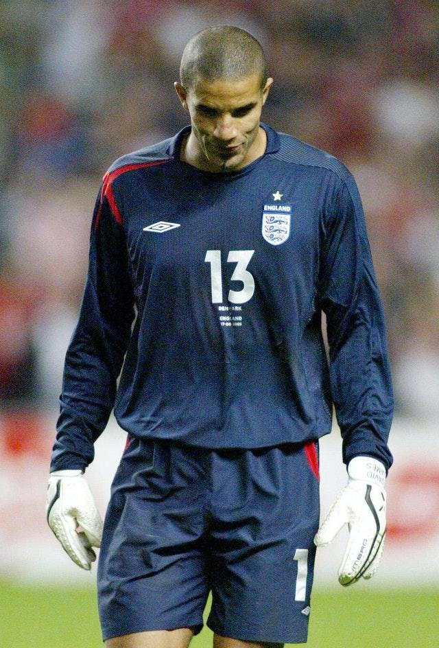 David James was beaten four times in Copenhagen as England suffered their biggest defeat in 25 years (Gareth Copley/PA).