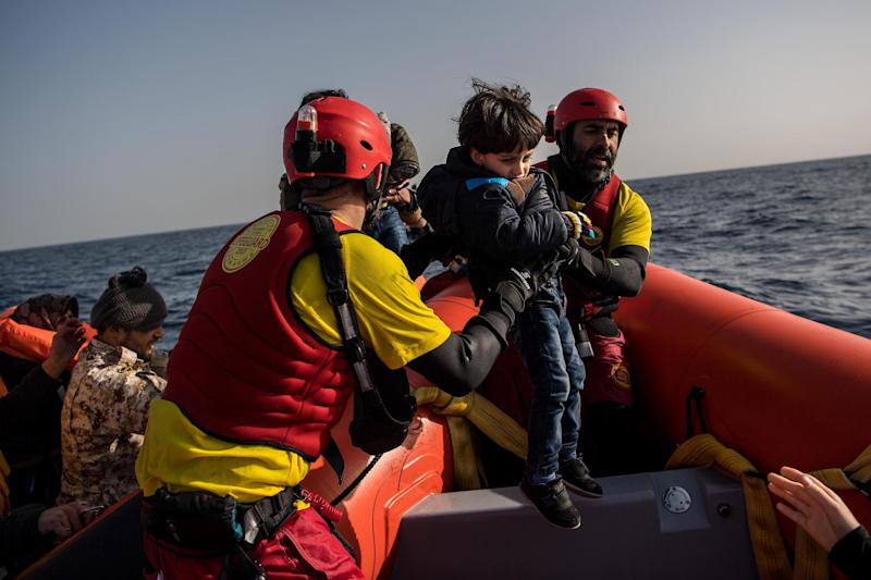 NGO Proactiva Open Arms conducts a rescue operation in the Mediterranean: Getty