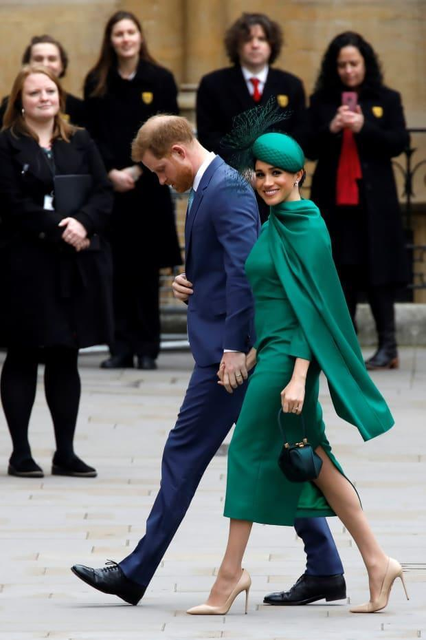 "<p>An <a href=""https://fashionista.com/2020/03/meghan-markle-wore-green-emilia-wickstead-dress"" rel=""nofollow noopener"" target=""_blank"" data-ylk=""slk:Emilia Wickstead cape dress"" class=""link rapid-noclick-resp"">Emilia Wickstead cape dress</a> at the Commonwealth Day festivities at Westminster Abbey. <em>Photo: </em><em>Tolga Akmen/AFP via Getty Images</em></p>"