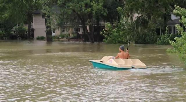 Regis Prograis is shown in the aftermath of Hurricane Harvey. (Courtesy of Regis Prograis)