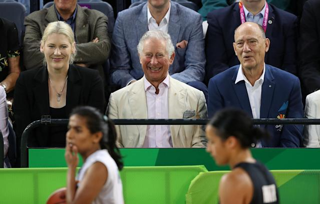 Britain's Prince Charles watches a women's Commonwealth Games basketball game between New Zealand and India, in Cairns, Australia April 8, 2018. Steve Parsons/Pool via Reuters