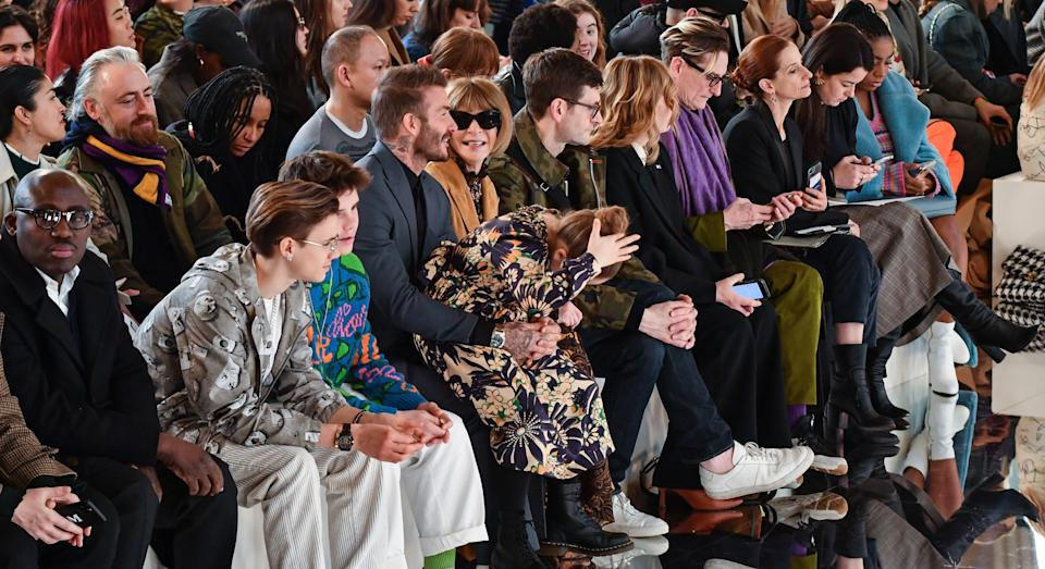 Victoria Beckham was supported by her family on the front row at London Fashion Week [Image: Getty]