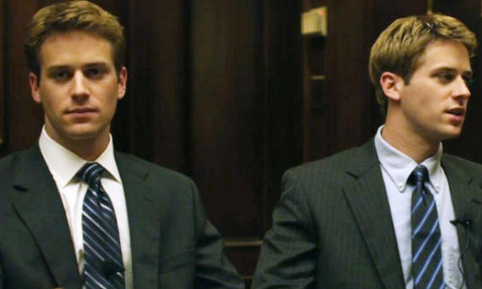 Armie Hammer played the Winklevoss twins Cameron and Tyler Winklevoss in 2010's The Social Network which earned him much attention from Hollywood.