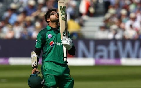 Pakistan's Imam-ul-Haq celebrates his century during the third One Day International (ODI) cricket match between England and Pakistan - Credit: GEOFF CADDICK/AFP/Getty Images
