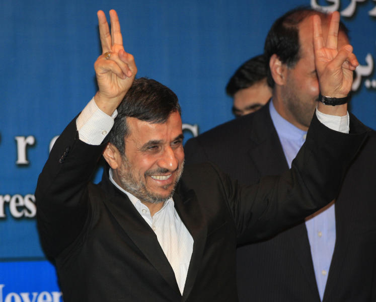 Iranian President Mahmoud Ahmadinejad gestures after a press conference on the sidelines of the Bali Democracy Forum in Nusa Dua, Bali, Indonesia, Thursday, Nov. 8, 2012. (AP Photo/Dita Alangkara)