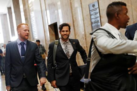 Tyler Smith, attorney for defendant Max Harris, leaves a press conference after Harris was acquitted of involuntary manslaughter for the deadly 2016 Ghost Ship warehouse fire that killed 36 in Oakland, California