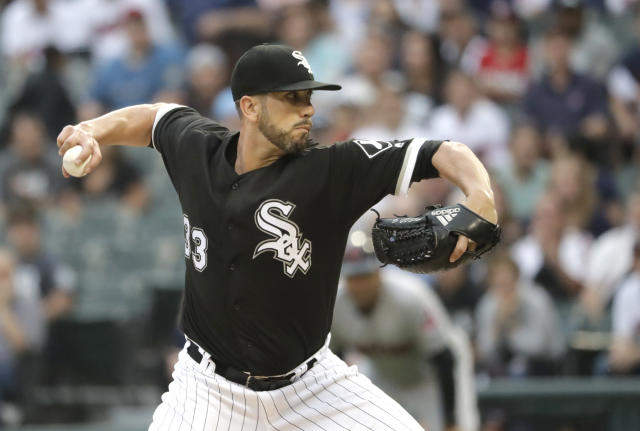 Chicago White Sox starting pitcher James Shields delivers during the first inning of the team's baseball game against the Cleveland Indians on Tuesday, June 12, 2018, in Chicago. (AP Photo/Charles Rex Arbogast)