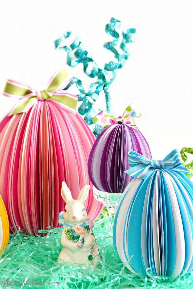 """<p>The whole family can help out with cutting the shapes for these gorgeous three-dimensional eggs, which look so cute on Easter grass and next to a bunny!</p><p><strong>Get the tutorial at <a href=""""http://www.littlemisscelebration.com/2016/03/07/stand-up-paper-eggs/"""" rel=""""nofollow noopener"""" target=""""_blank"""" data-ylk=""""slk:Little Miss Celebration"""" class=""""link rapid-noclick-resp"""">Little Miss Celebration</a>. </strong></p>"""
