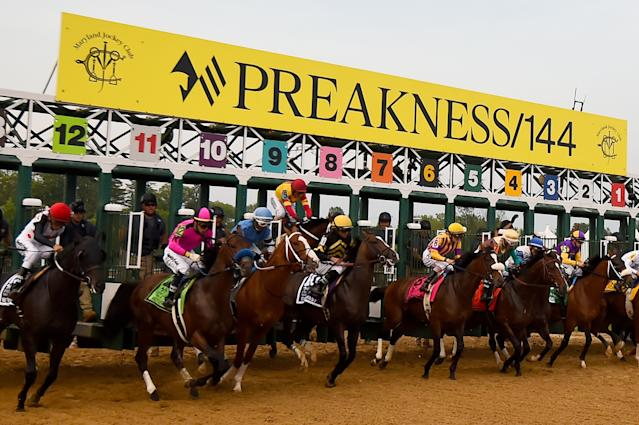 After shaking his jockey right out of the gate, Bodexpress finished the Preakness Stakes on Saturday solo. (Will Newton/Getty Images)