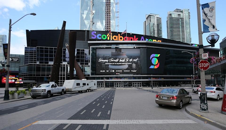 TORONTO, ON- JUNE 30  - Scotiabank Arena, home of the Toronto Maple Leafs is still in the running to see professional hockey as Toronto remains in the running to be one of the NHL hub cities. Toronto moves into phase two with the rest of Ontario as the province tries to slow the spread of COVID-19  in Toronto. June 30, 2020.        (Steve Russell/Toronto Star via Getty Images)