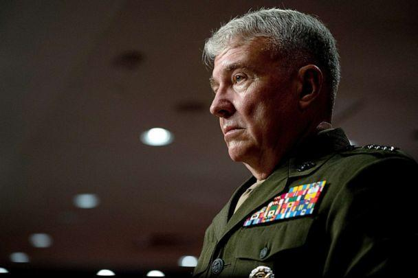 PHOTO: General Kenneth McKenzie listens during a Senate Armed Services Committee hearing on the conclusion of military operations in Afghanistan and plans for future counterterrorism operations, on Capitol Hill, Sept. 28, 2021.  (Stefani Reynolds/Pool via Reuters)