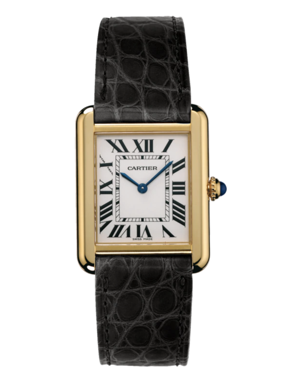 """<p><strong>Cartier</strong></p><p>Cartier</p><p><strong>$4750.00</strong></p><p><a href=""""https://www.cartier.com/en-us/collections/watches/women-s-watch/tank/tank-solo/w5200002-tank-solo-watch.html"""" rel=""""nofollow noopener"""" target=""""_blank"""" data-ylk=""""slk:Shop Now"""" class=""""link rapid-noclick-resp"""">Shop Now</a></p><p>A Cartier Tank Solo is a must-have for any watch or jewelry aficionado.</p>"""