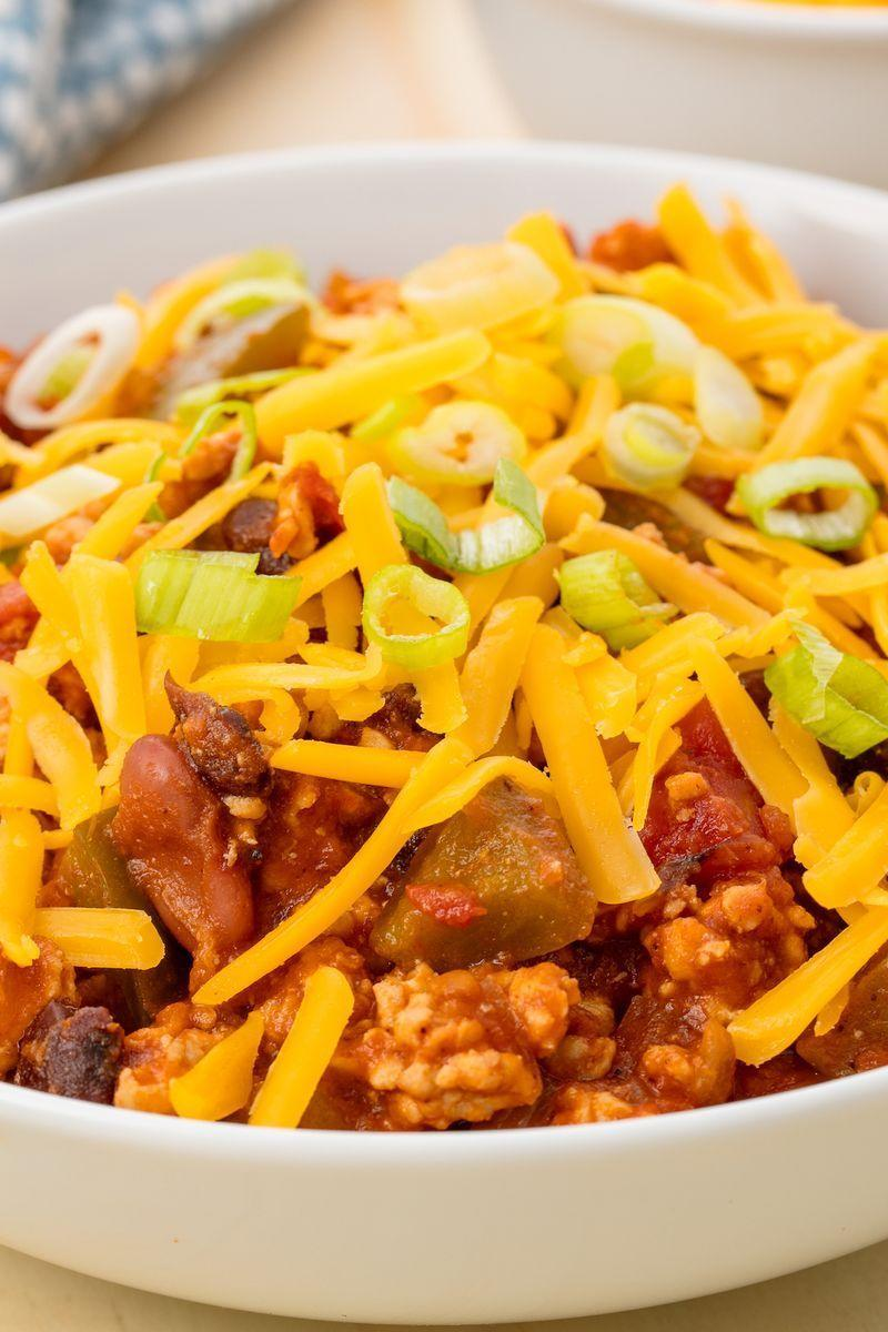 """<p>Having a big bowl of chilli ready at dinner with very minimal effort (and dishes) is what winter is all about. This turkey chilli is both comforting and healthy. So grab you slow cooker and cozy on up.</p><p>Get the <a href=""""https://www.delish.com/uk/cooking/recipes/a29545352/easy-turkey-slow-cooker-chili-recipe/"""" rel=""""nofollow noopener"""" target=""""_blank"""" data-ylk=""""slk:Slow Cooker Turkey Chilli"""" class=""""link rapid-noclick-resp"""">Slow Cooker Turkey Chilli</a> recipe.</p>"""
