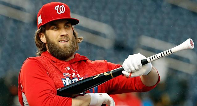 "<a class=""link rapid-noclick-resp"" href=""/mlb/players/8875/"" data-ylk=""slk:Bryce Harper"">Bryce Harper</a> plays baseball in Washington, DC, but he's from Las Vegas. So which team will he represent when he drops the puck at a Capitals-Golden Knights game?"