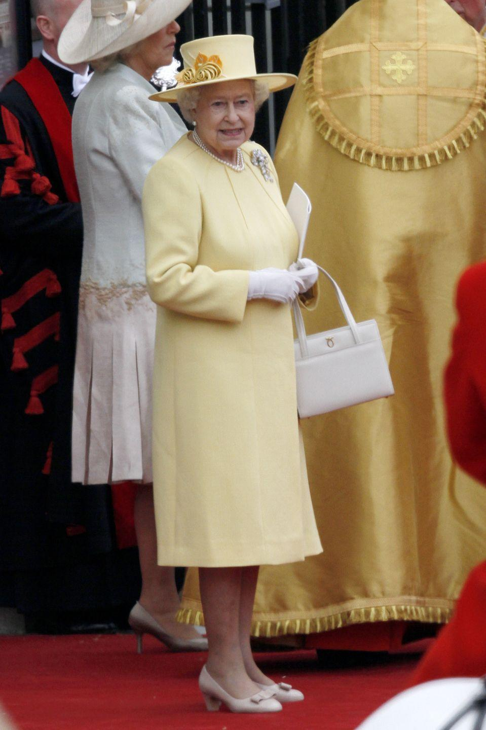 <p>For her grandson William's wedding day, the Queen chose a cheery yellow.</p>