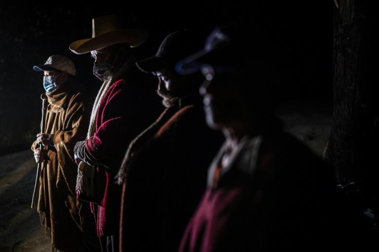 """Members of the self defence organisation """"Rondas Campesinas"""" carry out their patrol at the Chota district in Cajamarca, north east of Peru, on June 2, 2021"""
