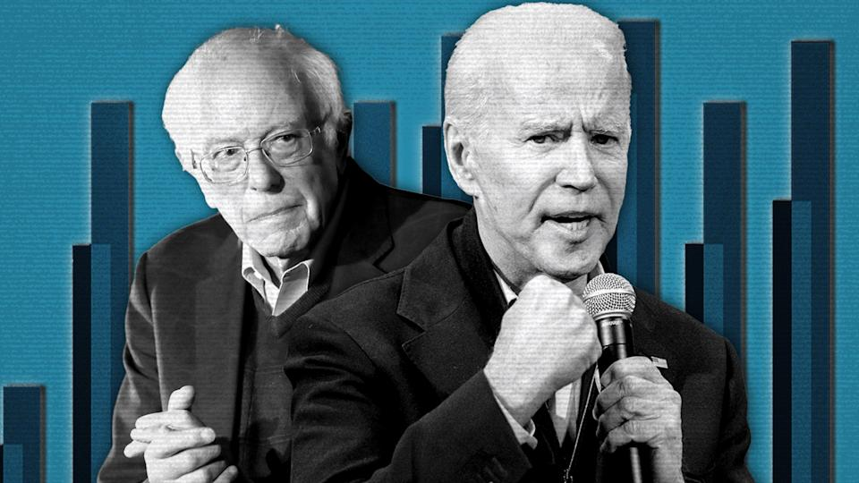 Bernie Sanders and Joe Biden. (Photo illustration: Yahoo News; photos: AP(2), Getty Images)