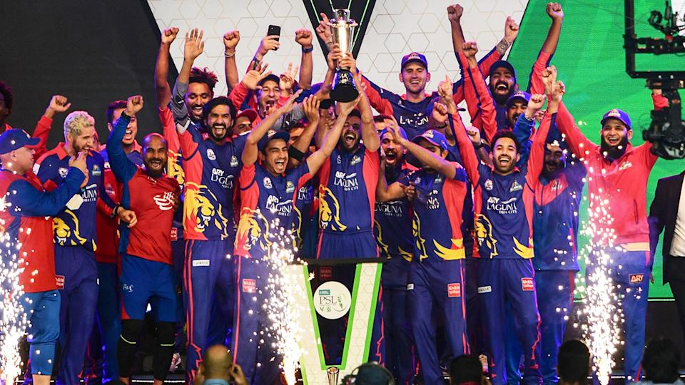 Karachi Kings players, pictured here celebrating after winning the Pakistan Super League.