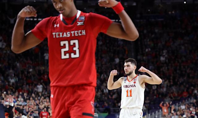 Ty Jerome #11 of the Virginia Cavaliers reacts against the Texas Tech Red Raiders in the second half during the 2019 NCAA men's Final Four National Championship game at U.S. Bank Stadium on April 08, 2019 in Minneapolis, Minnesota. (Photo by Streeter Lecka/Getty Images)