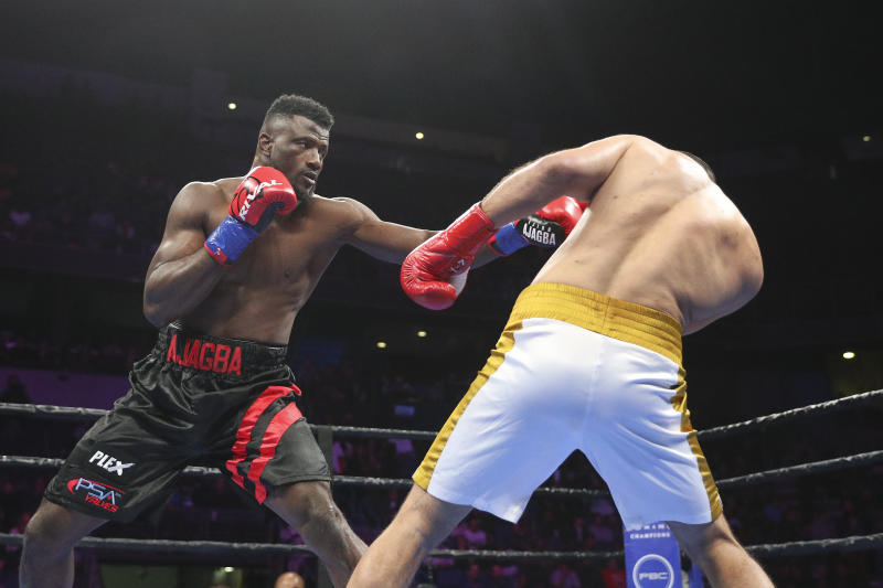 ONTARIO, CALIFORNIA - DECEMBER 21: Efe Ajagba of Nigeria defeats Iago Kiladze of Georgia in the heavyweight division at Toyota Arena on December 21, 2019 in Ontario, California. (Photo by Meg Oliphant/Getty Images)