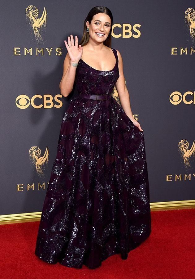 The ballgown look is a popular one with Lea Michele getting in on the action with this purple frock. Photo: Getty