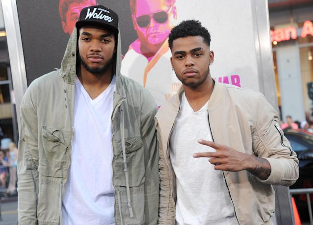 Will the off-court friendship of Karl-Anthony Towns and D'Angelo Russell lead to on-court chemistry? (Gregg DeGuire/Getty Images)