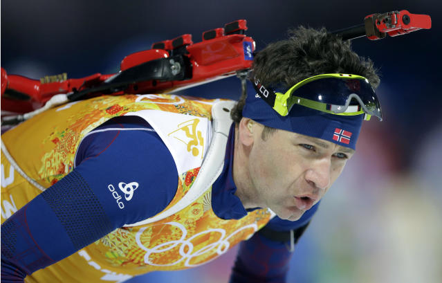 Norway's Ole Einar Bjoerndalen approaches the shooting range during the mixed biathlon relay at the 2014 Winter Olympics, Wednesday, Feb. 19, 2014, in Krasnaya Polyana, Russia. (AP Photo/Lee Jin-man)