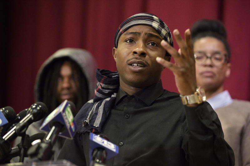 Stevante Clark, the brother of Stephon Clark who was killed by police last year, speaks during a news conference at the Genesis Church in Sacramento, Calif., Sunday, March 3, 2019. Clark's comments followed Saturday's announcement by Sacramento District Attorney Anne Marie Schubert that the two officers who shot and killed Stephon Clark will not be charged in the shooting. (AP Photo/Randall Benton)