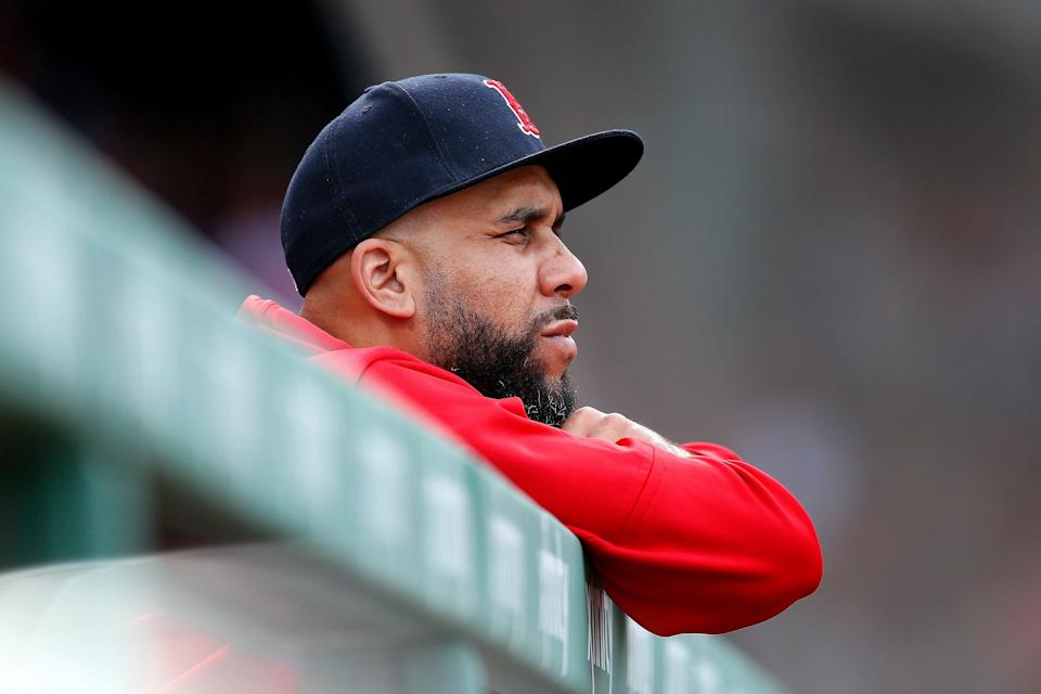 Boston Red Sox's David Price watches from the dugout during the ninth inning of a baseball game against the Baltimore Orioles in Boston, Saturday, April 13, 2019. (AP Photo/Michael Dwyer)