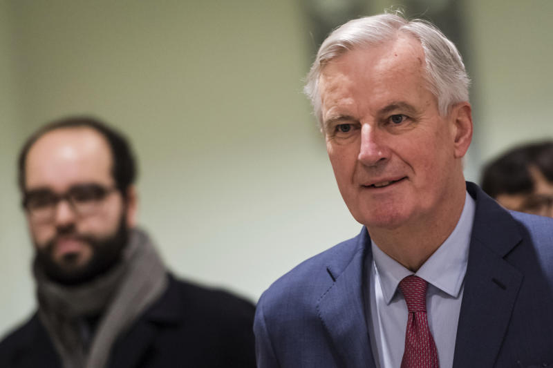 European Union chief Brexit negotiator Michel Barnier arrives for a Brexit Steering Group meeting at the European Parliament in Brussels on Wednesday Jan. 30 2019. British Prime Minister Theresa May on Tuesday won a few weeks to salvage a Brexit deal but