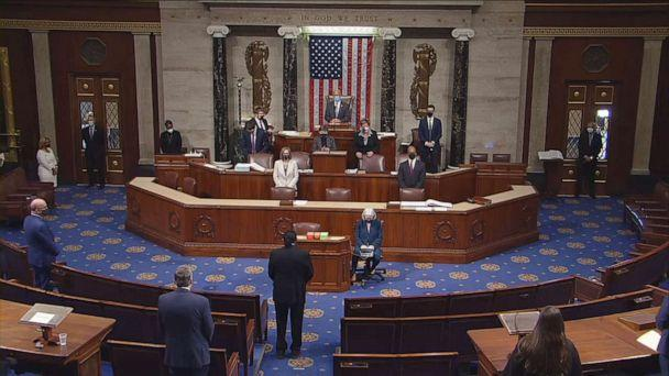 PHOTO: The U.S. House of Representatives gathers to debate on a historic second impeachment of President Donald Trump over his supporters' attack of the Capitol, Jan. 13, 2021. (ABC News)