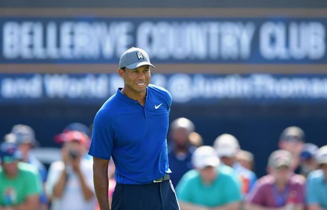 "<a class=""link rapid-noclick-resp"" href=""/pga/players/147/"" data-ylk=""slk:Tiger Woods"">Tiger Woods</a> tees off on Thursday at the PGA Championship. (Getty)"