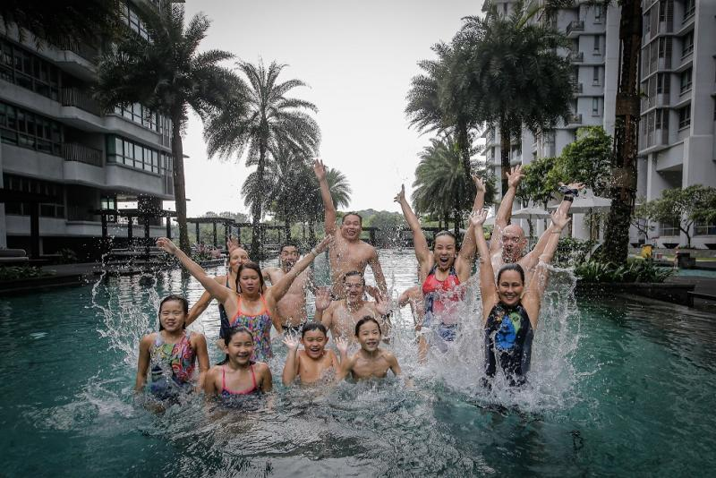 The mum of three also has free swimming lessons for friends and residents at her condo.
