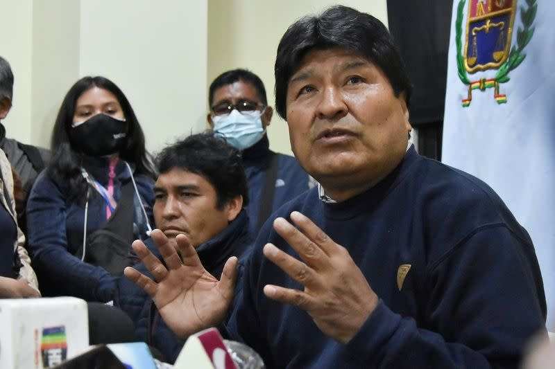 Bolivia's former President Evo Morales and President of the country's ruling Movement Toward Socialism (MAS) party attends a news conference in Cochabamba