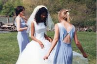 """<p>The simple neckline and full skirt on this 1997 bride would still be """"in"""" today. Slight <a href=""""https://www.goodhousekeeping.com/beauty/fashion/g20266460/meghan-markle-royal-wedding-dresses/"""" rel=""""nofollow noopener"""" target=""""_blank"""" data-ylk=""""slk:Meghan Markle"""" class=""""link rapid-noclick-resp"""">Meghan Markle</a> vibes, yeah? </p>"""