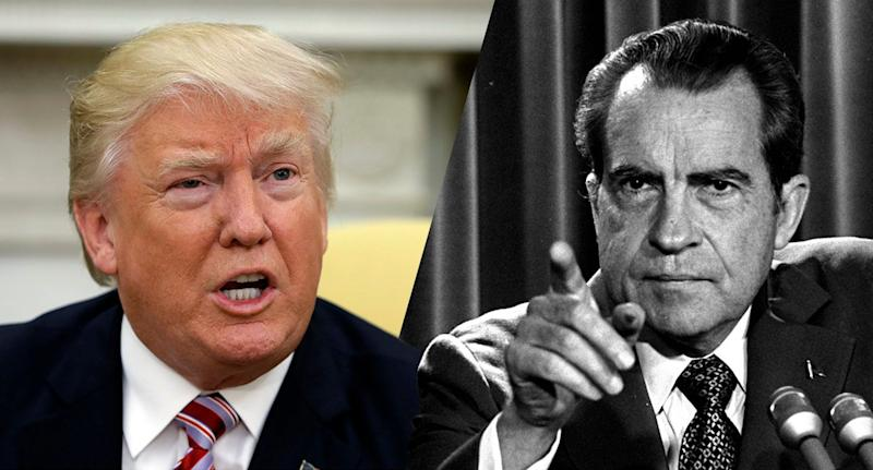 President Donald Trump and President Richard Nixon. (Photo: /Evan Vucci/AP, Charles Tasnadi/AP)