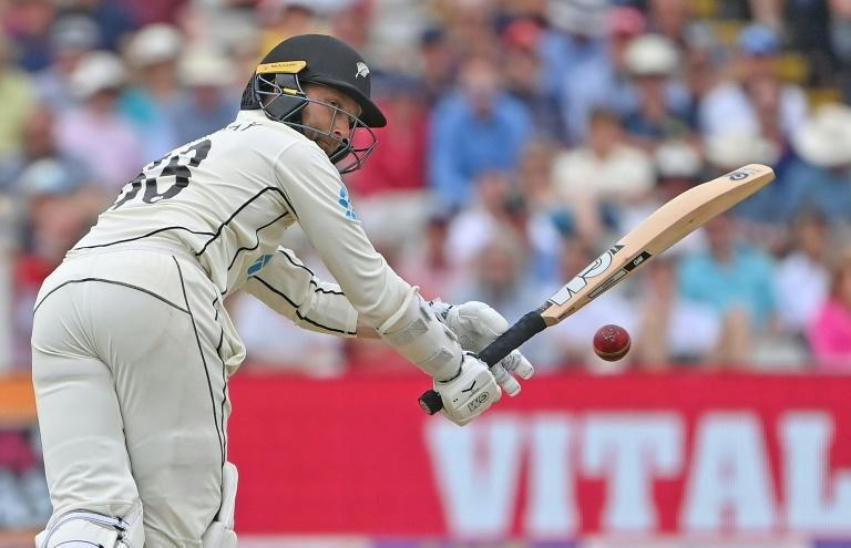 In the runs again - New Zealand's Devon Conway bats during the second Test against England at Edgbaston on Friday