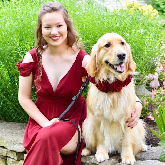 Claire took her medical alert dog Percie to prom. (Photo: Facebook/Percie the Service Dog)