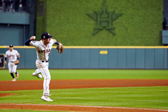 Alex Bregman made a crucial error during Game 2 of the World Series. (Cooper Neill/Getty Images)