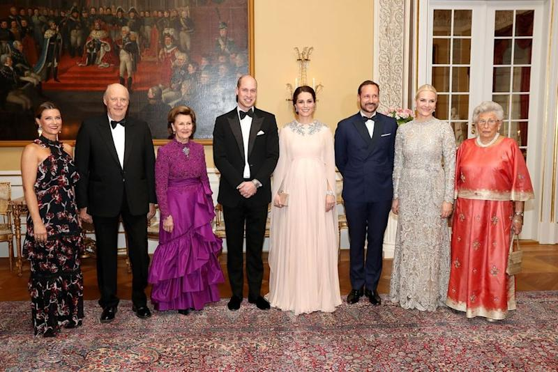 Prince William and Kate Middleton pose with Princess Martha Louise of Norway, Harald V of Norway, Queen Sonja of Norway, Crown Prince Haakon of Norway, Crown Princess Mette Marit of Norway and Princess Astrid of Norway | Chris Jackson - Pool/Getty